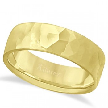Men's Hammered Finished Carved Band Wedding Ring 14k Yellow Gold (7mm) This contemporary men's designer ring is crafted in 14kt yellow gold and features a shiny hammer finished band. For men that do not want to sacrifice style for comfort, this low dome styled band is comfort-fit with rounded inside edges to provide a perfect fit for him. Wear this modern carved gentlemen's wide band ring as a wedding band, as an anniversary ring, or as a fancy right hand fashion ring. Available in other finishes, other widths, and other precious metal types.