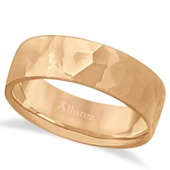 Men's Hammered Finished Carved Band Wedding Ring 18k Rose Gold (7mm) This contemporary men's designer ring is crafted in 18kt pink gold (rose gold) and features a shiny hammer finished band. For men that do not want to sacrifice style for comfort, this low dome styled band is comfort-fit with rounded inside edges to provide a perfect fit for him. Wear this modern carved gentlemen's wide band ring as a wedding band, as an anniversary ring, or as a fancy right hand fashion ring. Available in other finishes, other widths, and other precious metal types.