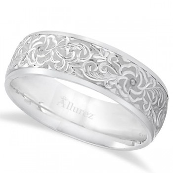 Hand-Engraved Flower Wedding Ring Wide Band Platinum (7mm) Symbolize your love with this wedding band with floral designs. This wedding ring is the perfect style for men and for women. Made of high quality Platinum, this high polished band is a comfort fit, which means it has rounded inside edges for an irresistible comfort.Wear this as a right hand fashion ring, as an anniversary ring, or as a male engagement ring.