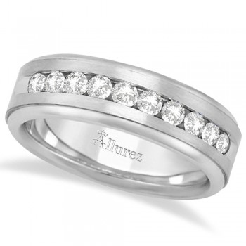 Men's Channel Set Diamond Ring Wedding Band 14kt White Gold (1/4ct) A simple men's wedding ring has been transformed into a beautiful unique ring band featuring 10 round cut sparkling diamonds. The diamonds are of bright clear G-H Color, VS Clarity and are set in a channel setting. This fancy 14 karat white gold ring with satin finish is comfort-fit, which means it has rounded inside edges to provide an ultimate comfort for him. With an semi eternity-style design, this wedding band features diamonds that go half way around.