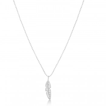 Feather Charm Pendant Necklace 14k White Gold Enjoy a beautiful symbol of freedom with the feather pendant necklace set in 14k white gold. Remember the essence of the wild west with this stunning piece. This pendant comes with a matching gold chain of your choice in size.