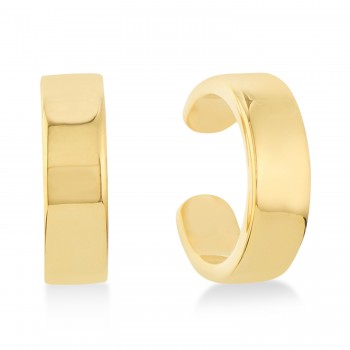 Flat Cuff Earrings 14k Yellow Gold These flat ear cuffs are the perfect accessories for the fashionable, chic woman. The stylish design will complement your look with ease. Crafted in stunning 14K Yellow Gold, these cuff earrings are great for any occasion.