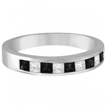 Not just a wedding band this Princess Cut Black White Diamond Ring can
