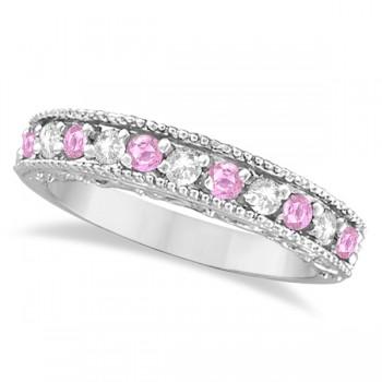 Pink Sapphire & Diamond Ring Designer Band in 14k White Gold (0.30ct)