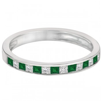 Channel Set Diamond & Emerald Ring Band 14k White Gold (0.60ct)