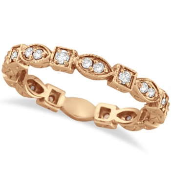 Antique Style Diamond Eternity Ring Band in 14k Rose Gold (0.36ct) Ovals and squares interlock in this unique and stylish 14k rose gold (pink gold) diamond band. A total of 22 diamonds are circulating all the way around this gorgeous ring. Wear it alone, wear it as a wedding ring, or mix and match it with our other stackable rings.