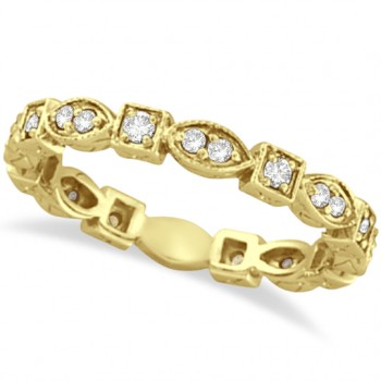 Antique Style Diamond Eternity Ring Band in 14k Yellow Gold (0.36ct) Ovals and squares interlock in this unique and stylish 14k yellow gold diamond band. A total of 22 diamonds are circulating all the way around this gorgeous ring. Wear it alone, wear it as a wedding ring, or mix and match it with our other stackable rings.