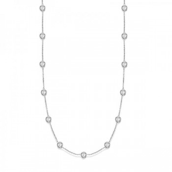 36 Inch Long Diamond Station Necklace Strand 14k White Gold (9.00ct) Twenty eight round diamonds glimmering in a bezel setting in this luxurious 36 inch 9.00 ct diamond layered necklace. The diamonds are about 1 1/4 inches apart from each other. An incredible accessory for all fashions, this 36 diamond station necklace 14k white gold is extremely trendy, classy, and fashionable. Wrap it around twice in layers or wear it as one long necklace. Available in other diamond carat weights, and other lengths. Please call us at 1-800-554-3509 if you would like to customize this item.
