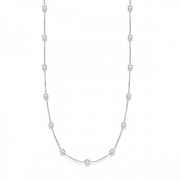 36 inch Long Diamond Station Necklace Strand 14k White Gold (2.00ct) Twenty eight glittering round diamonds shimmer in a bezel setting in this ravishing 36 inch diamond layered necklace. The diamonds are about 1 1/4 inches apart from each other. A perfect accessory for all styles, this 36 diamond station necklace in 14k white gold is extremely trendy, classy, and fashionable. Wrap it around twice in layers or wear it as one long necklace. Available in other diamond carat weights, and other lengths. Please call us at 1-800-554-3509 if you would like to customize this item.