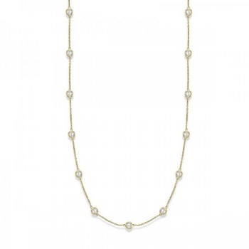 36 inch Long Diamond Station Necklace Strand 14k Yellow Gold (4.00ct) Twenty eight brilliant cut round diamonds shimmer in a bezel setting in this timeless 36 inch diamond layered necklace. The diamonds are about 1 1/4 inches apart from each other. A great accessory to brighten up your day, this 36 diamond station necklace in 14k yellow gold is extremely trendy, classy, and fashionable. Wrap it around twice in layers or wear it as one long necklace. Available in other diamond carat weights, and other lengths. Please call us at 1-800-554-3509 if you would like to customize this item.