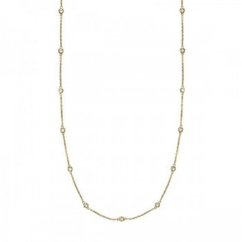 36 inch Long Diamond Station Necklace Strand 14k Yellow Gold (0.66ct) Twenty eight near-colorless round diamonds catch the light in a bezel setting in this classic 36 inch diamond layered necklace. The diamonds are about 1 1/4 inches apart from each other. A great accessory to brighten up your day, this 36 diamond station necklace in 14k yellow gold is extremely trendy, classy, and fashionable. Wrap it around twice in layers or wear it as one long necklace. Available in other diamond carat weights, and other lengths. For more customization options, please call 1-800-554-3509 to speak to a Diamond and Jewelry Consultant.