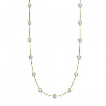 36 Inch Long Diamond Station Necklace Strand 14k Yellow Gold (9.00ct) Twenty eight glittering round diamonds shine in a bezel setting in this classy 36 inch 9.00 ct diamond layered necklace. The diamonds are about 1 1/4 inches apart from each other. An amazing accessory for all fashions, this 36 diamond station necklace in 14k yellow gold is extremely trendy, classy, and fashionable. Wrap it around twice in layers or wear it as one long necklace. Available in other diamond carat weights, and other lengths. Please call us at 1-800-554-3509 if you would like to customize this item.
