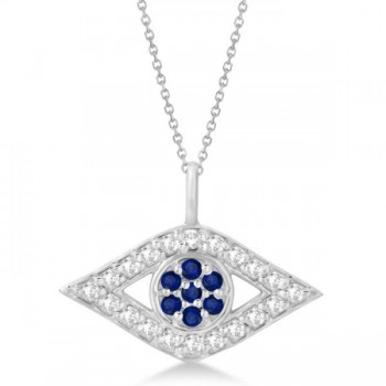Evil Eye Diamond & Sapphire Pendant Necklace 14k White Gold (0.50ct) Wearing this gemstone evil eye pendant will protect you from bad luck--and it makes a glamorous fashion accessory besides! With 20 sparkling G-H color, SI1-SI2 clarity diamonds and seven brilliant blue diamonds, all pave set in genuine 14k white gold, this gemstone pendant is sure to attract some envious looks.Choose a 16- or 18-inch chain for this gold pendant, available in alternate metals.