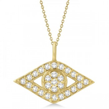 Evil Eye Diamond Pendant Necklace in 14k Yellow Gold Pave Set (0.50ct) This diamond evil eye pendant protects you from bad luck--and makes a stunning fashion accessory besides! The 14k yellow gold pendant features 27 round cut SI1-SI2 clarity diamonds of G-H color, securely pave set and totaling 0.50 carats.Hang your diamond pendant on a matching 16- or 18-inch gold chain. This pendant necklace is also available in alternate metals.
