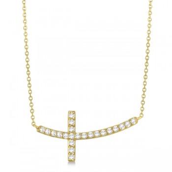 Diamond Sideways Curved Cross Pendant Necklace 14k Yellow Gold 0.33 ct
