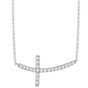 Diamond Sideways Curved Cross Pendant Necklace 14k White Gold 0.75 ct