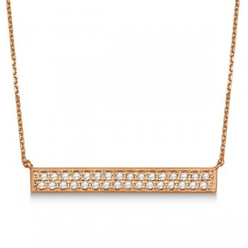 Double Row Horizontal Diamond Bar Necklace 14k Rose Gold 0.33ct Fashioned in 14k rose (pink) gold, this horizontal white diamond bar pendant necklace sparkles with 31 round, individual, pave set stones.Raising the bar on fashion accessories, this pink gold wide bar necklace features about 0.33 carats of diamond light. Select your choice of either a 16 or 18 inch matching gold chain to complete the look that's a sure fire hit, bar none.