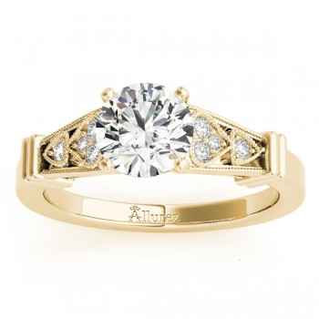 Diamond Heart Engagement Ring Vintage Style 14k Yellow Gold (0.10ct)