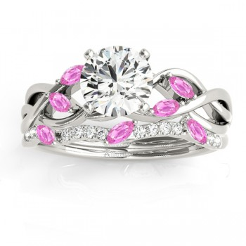 Marquise Pink Sapphire & Diamond Bridal Set Setting 14k White Gold (0.43ct)