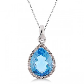 Pear Shaped Blue Topaz and Diamond Pendant Necklace 14k White Gold
