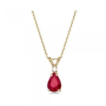Pear Ruby & Diamond Solitaire Pendant Necklace 14k Yellow Gold