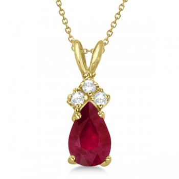 Pear Ruby & Diamond Solitaire Pendant Necklace 14k Yellow Gold (0.75ct)