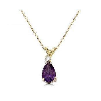 Pear Amethyst and Diamond Solitaire Pendant Necklace 14k Yellow Gold
