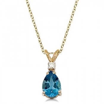 Pear Blue Topaz & Diamond Solitaire Pendant Necklace 14k Yellow Gold
