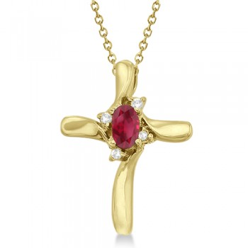 Ruby and Diamond Cross Pendant Necklace 14k Yellow Gold