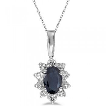 Blue Sapphire & Diamond Flower Shaped Pendant Necklace 14k White Gold