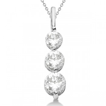 Three-Stone Graduated Diamond Pendant Necklace 14K White Gold (1.05ct) Three single prong settings contain the brilliance of 3 beautiful, high-quality graduated diamonds that dangle from a drop pendant necklace, hand-crafted in solid 14k white gold. Each stone is a diamond of G-H color and SI1-2 clarity.If you're after a stylish look, this is the perfect accessory to make your outfits instantly fashion-forward. Mixing and matching with our other fine diamond jewelry is a breeze, thanks to this pendant's simple--yet elegant--design.Enjoy a FREE matching 14k white gold cable chain with your purchase.