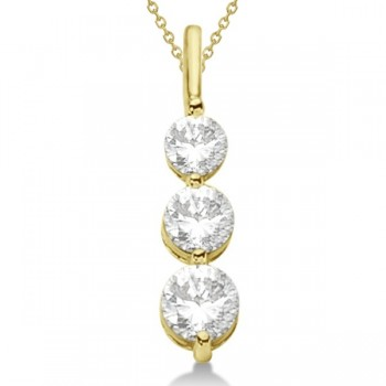 Three-Stone Graduated Diamond Pendant Necklace 14K Yellow Gold (1.05ct) Three single prong settings contain the brilliance of 3 beautiful, high-quality graduated diamonds that dangle from a drop pendant necklace, hand-crafted in solid 14k yellow gold. Each stone is a diamond of G-H color and SI1-2 clarity.If you're after a stylish look, this is the perfect accessory to make your outfits instantly fashion-forward. Mixing and matching with our other fine diamond jewelry is a breeze, thanks to this pendant's simple--yet elegant--design.Enjoy a FREE matching 14k yellow gold cable chain with your purchase.