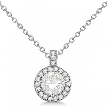 Round-Cut Halo Diamond Pendant Necklace