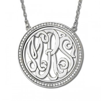 Monogram Initial Necklace with Diamond Accents Sterling Silver 0.34ct