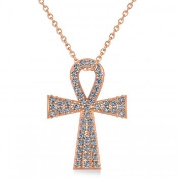 Diamond Ankh Egyptian Cross Pendant Necklace 14k Rose Gold (1.00ct)