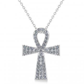 Diamond Ankh Egyptian Cross Pendant Necklace 14k White Gold (1.00ct)
