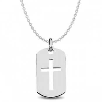 Men's Dog Tag Pendant with Cross Crafted in Polished Sterling Silver This dog tag pendant features a carved out cross design that's sure to get noticed. Crafted in durable, polished sterling silver, this single, military style dog tag measures 42.00 x 23.50mm, the perfect size for any man.Treat your man to this sterling silver dog tag pendant with a cross design, or ask about the other metals it's available in.