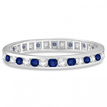 1.04ct Blue Sapphire & Diamond Channel Set Eternity Band 14k Gold Ring