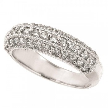 Diamond Three Rows Ring Band in 14K White Gold (0.84 ctw)