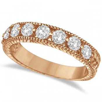 Antique Scrollwork Diamond Wedding Ring Band 14k Rose Gold (1.04ct) Eight large brilliant-cut round sparkling diamonds of G-H Color, SI1-SI2 Clarity are circling half way around this gorgeous vintage style wedding band for women. The ring features milgrain edges and antique scroll work (filigree) making this ladies ring unlike any other.  Wear this 14kt rose gold (pink gold) ring as a wedding band, as an anniversary ring, or as a right hand fashion ring.