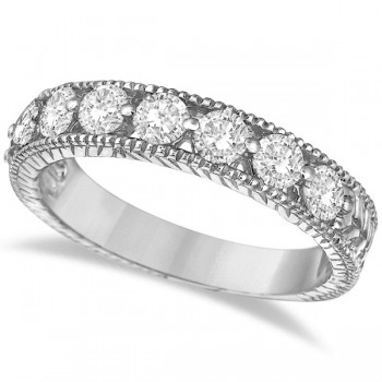 Antique Scrollwork Diamond Wedding Ring Band 14k White Gold (1.04ct) Eight large brilliant-cut round sparkling diamonds of G-H Color, SI1-SI2 Clarity are circling half way around this gorgeous vintage style wedding band for women. The ring features milgrain edges and antique scroll work (filigree) making this ladies ring unlike any other.  Wear it as a wedding band, as an anniversary ring, or as a right hand fashion ring.