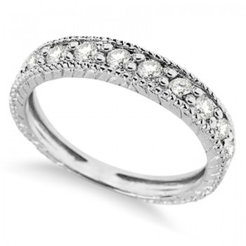 Vintage Style Diamond Wedding Ring Band Half-Way 14k White Gold 0.55ct This designer wedding band features 10 brilliant cut round diamonds circling half-way around. Milgrain edges and filgree design give this 14k white gold antique style ring a unique look. Over 1/2ct of diamonds are beautifully set in a sparkling prong setting in this stunning 14k rose gold semi-eternity ring.