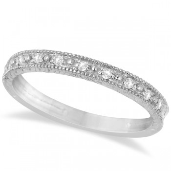 Milgrain Style Pave Set Diamond Ring in 14k White Gold (0.10 ct) Add something truly unique to your style with this magnificent milgrain style pave set diamond ring in 14k white gold.As diverse as it is beautiful, this ring can be worn as a fashion ring, wedding band, anniversary band or can be stacked with our other stackable rings and features an exquisite vintage hand carved semi-eternity milgrain finish with 10 alluring  diamonds totaling a notable 0.1 carats. The pave set stones sparkle along the 14k white gold finish and are sure to go with that little black dress you've been waiting to wear.This magnificent diamond ring is available in a variety of materials making this the perfect ring that you deserve.