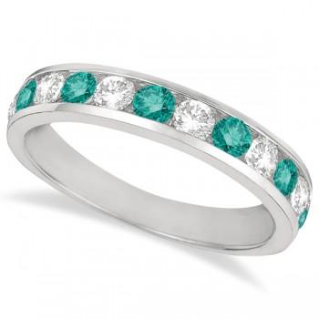 White & Fancy Blue Diamond Ring Channel-Set 14k White Gold (1.05ct)