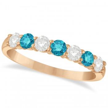 Blue & White Diamond 7 Stone Wedding Band 14k Rose Gold (0.75ct)