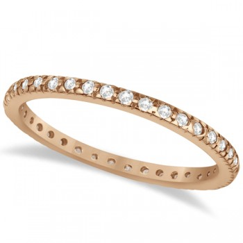 Pave Diamond Eternity Ring Anniversary Band 14K Rose Gold (0.26ct)