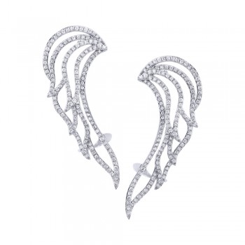 1.61ct 14k White Gold Diamond Ear Crawler Earrings