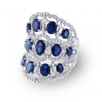 1.04ct Diamond & 4.46ct Blue Sapphire 14k White Gold Ring