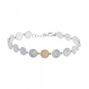1.33ct 14k Two-tone Rose Gold Diamond Pave Circle Bracelet