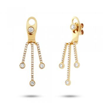 0.48ct 14k Yellow Gold Diamond Ear Jacket Earrings With Studs